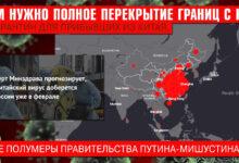 """""""Нам нужно полное перекрытие границ с КНР и карантин для прибывших из Китая, а не полумеры правительства Путина-Мишустина"""""""